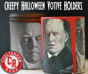 spooky, glowing eye Halloween candle holders by Cheltenham road