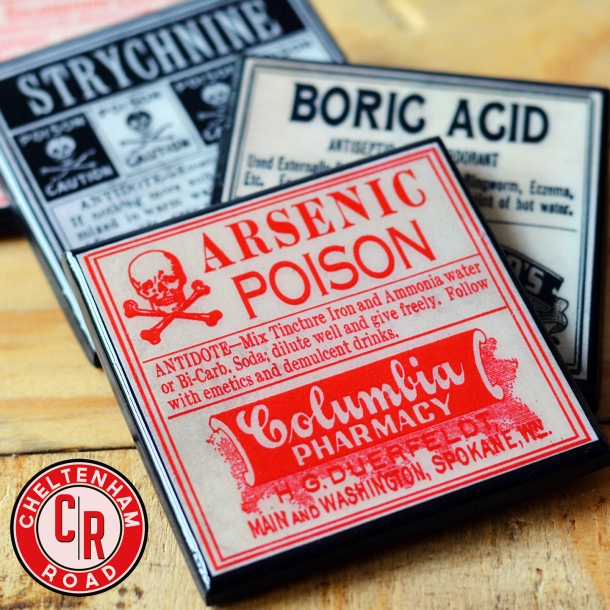 Vintage Poison Labels Halloween Coaster Set