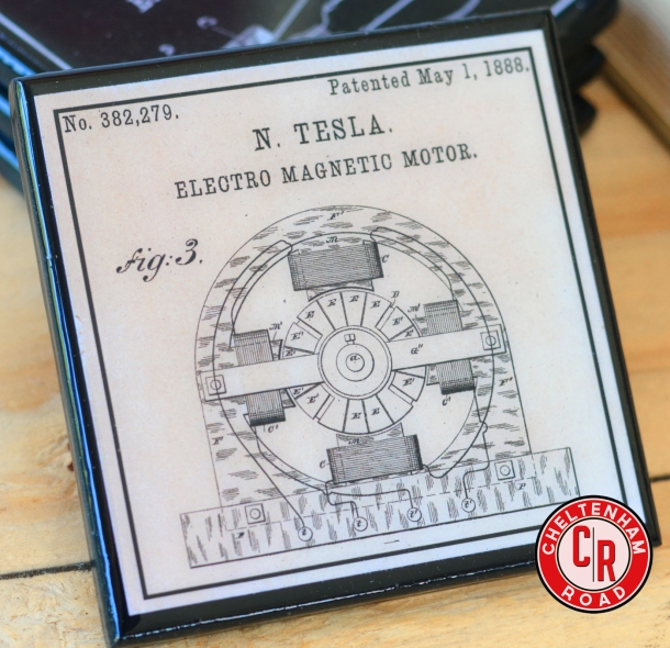 Inventor Coaster Set Nicola Tesla Patent Art by Cheltenham Road