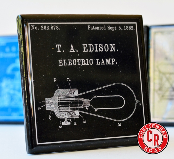 Patent Art Coaster Set Great Inventors Edison by Cheltenham Road