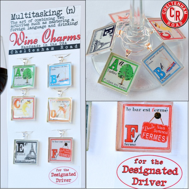 French ABC Wine Charm Set by Cheltenham Road