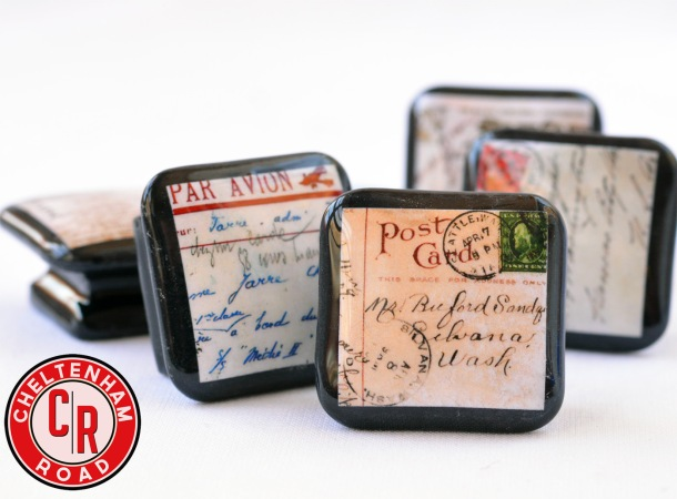 Vintage Postcard Handmade Knobs by Cheltenham Road
