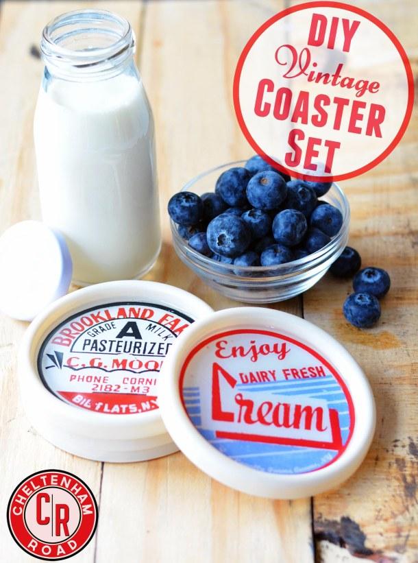 Vintage Dairy Label Coaster Set Tutorial  by Cheltenham Road