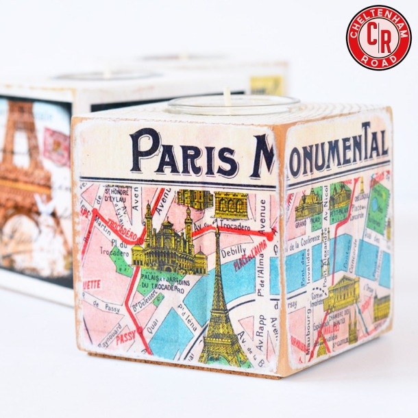 Vintage Paris Map Wood Candle Block Tealight Holder by Cheltenham Road on Etsy