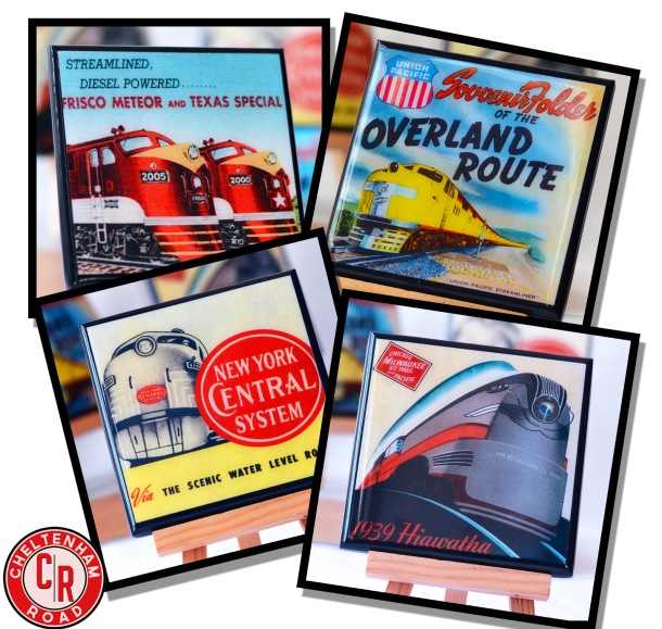 Classic Railroad Train Coaster Set by Cheltenham Road on Etsy