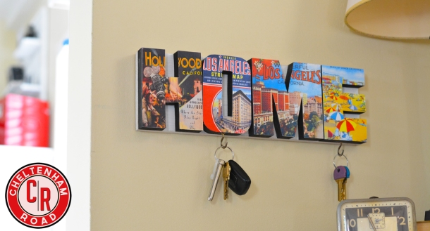 Vintage Los Angeles HOME sign keyholder by cheltenham road
