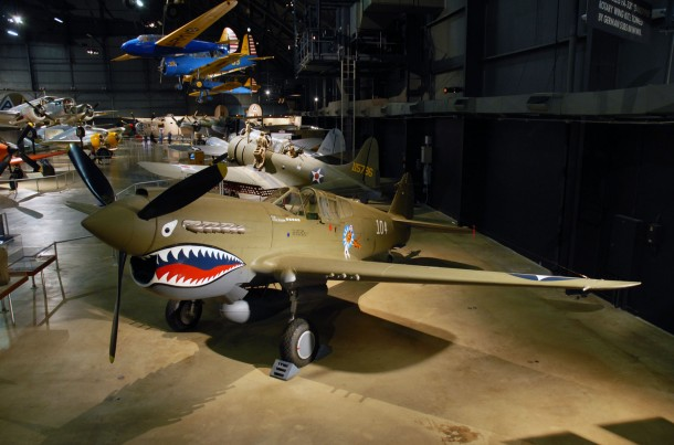 DAYTON, Ohio -- Curtiss P-40E Warhawk in the Air Power Gallery at the National Museum of the United States Air Force. (U.S. Air Force photo)
