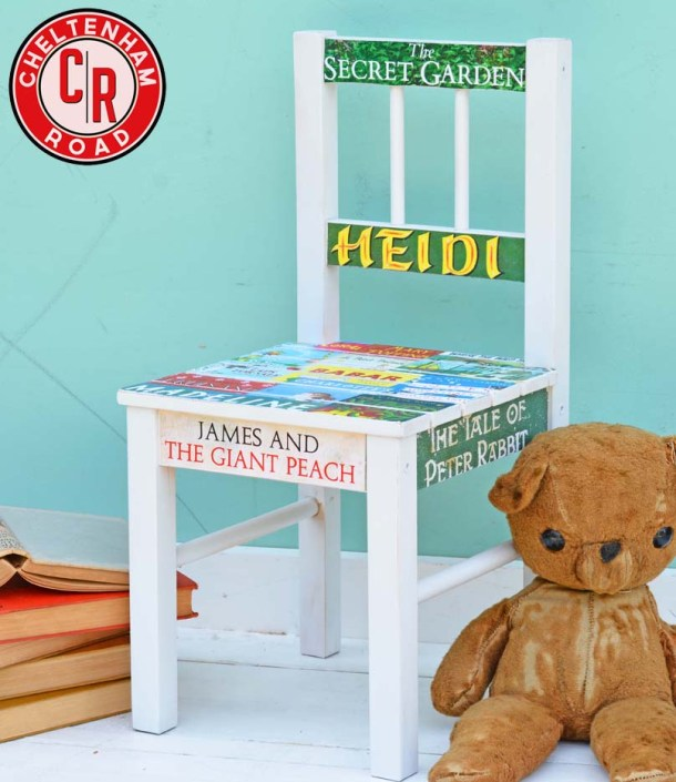 Decoupage Kids Chair with bok covers by Cheltenham Road