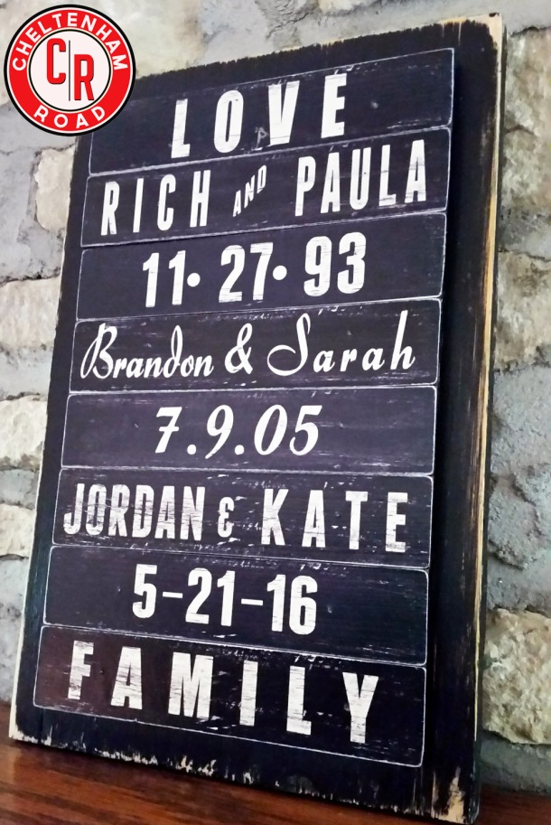 Custom Wedding Sign by Cheltenham Road
