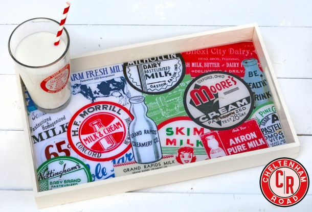 Vintage Dairy Label Tray Original Designs by Cheltenham Road