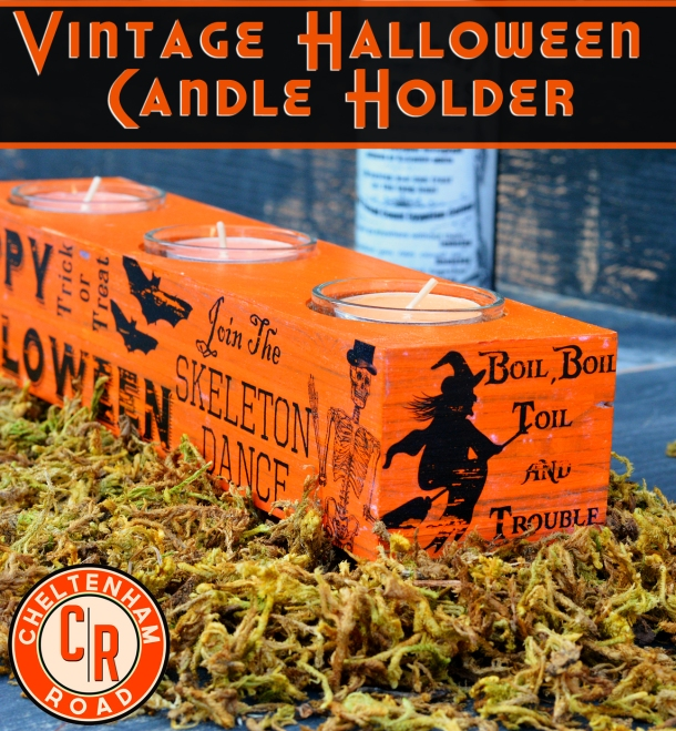 Vintage Halloween Candle Holder Tutorial with Image Transfer by Cheltenham Road