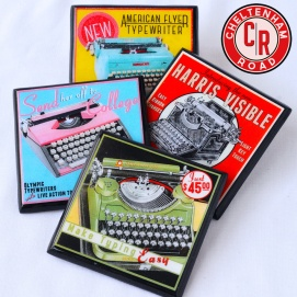 Vintage Typewriter Drink Coaster Set by Cheltenham Road